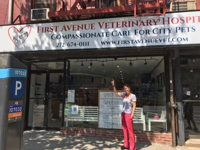 The veterinarian standing outside of First Avenue Veterinarian Hospital pointing at the sign