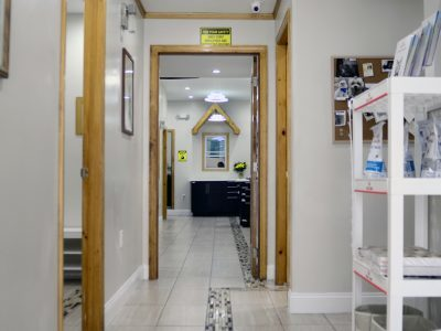A view down the hallway of the clinic