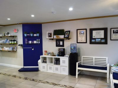 The waiting area and product display areas in the clinic