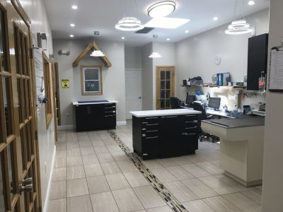 The inside of the clinics back treatment area. The clinic is decorated in white, black and brown